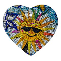 Sun From Mosaic Background Ornament (heart) by Nexatart