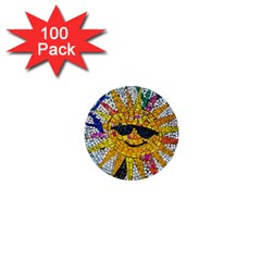 Sun From Mosaic Background 1  Mini Buttons (100 Pack)  by Nexatart