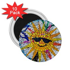 Sun From Mosaic Background 2 25  Magnets (10 Pack)  by Nexatart