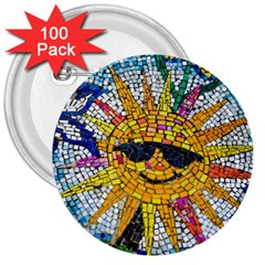 Sun From Mosaic Background 3  Buttons (100 Pack)  by Nexatart