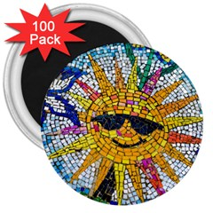 Sun From Mosaic Background 3  Magnets (100 Pack) by Nexatart