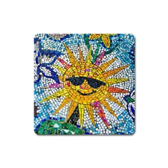 Sun From Mosaic Background Square Magnet by Nexatart
