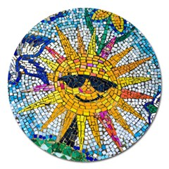 Sun From Mosaic Background Magnet 5  (round) by Nexatart