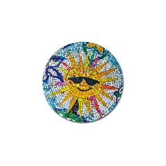 Sun From Mosaic Background Golf Ball Marker (4 Pack) by Nexatart