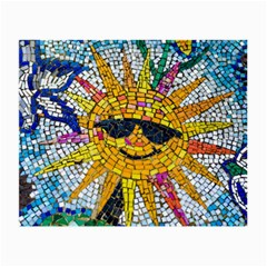 Sun From Mosaic Background Small Glasses Cloth by Nexatart