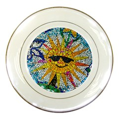 Sun From Mosaic Background Porcelain Plates by Nexatart