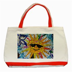 Sun From Mosaic Background Classic Tote Bag (red)