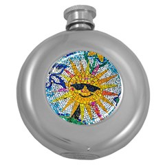 Sun From Mosaic Background Round Hip Flask (5 Oz) by Nexatart