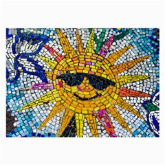 Sun From Mosaic Background Large Glasses Cloth (2 Side) by Nexatart