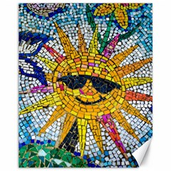 Sun From Mosaic Background Canvas 11  X 14   by Nexatart