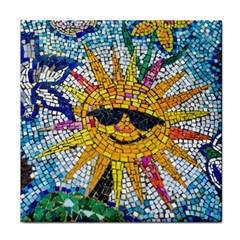 Sun From Mosaic Background Face Towel by Nexatart