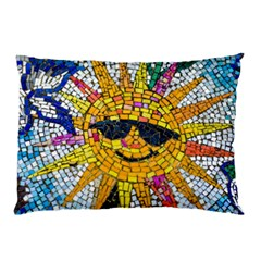 Sun From Mosaic Background Pillow Case by Nexatart