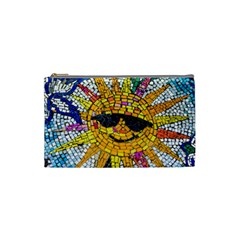Sun From Mosaic Background Cosmetic Bag (small)