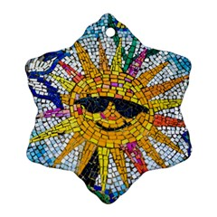 Sun From Mosaic Background Snowflake Ornament (two Sides)