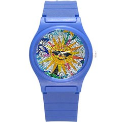 Sun From Mosaic Background Round Plastic Sport Watch (s) by Nexatart