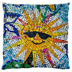 Sun From Mosaic Background Large Cushion Case (two Sides) by Nexatart