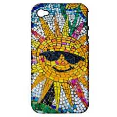 Sun From Mosaic Background Apple Iphone 4/4s Hardshell Case (pc+silicone) by Nexatart