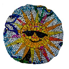 Sun From Mosaic Background Large 18  Premium Round Cushions by Nexatart