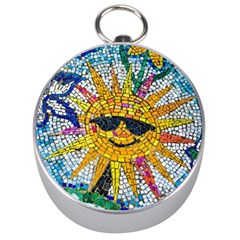 Sun From Mosaic Background Silver Compasses by Nexatart