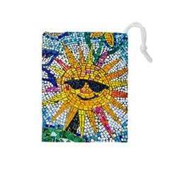 Sun From Mosaic Background Drawstring Pouches (medium)  by Nexatart