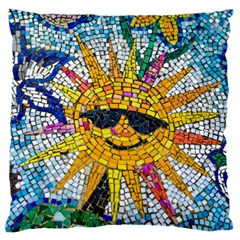 Sun From Mosaic Background Large Flano Cushion Case (two Sides) by Nexatart
