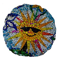 Sun From Mosaic Background Large 18  Premium Flano Round Cushions by Nexatart