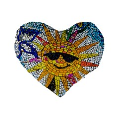 Sun From Mosaic Background Standard 16  Premium Flano Heart Shape Cushions by Nexatart