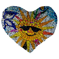 Sun From Mosaic Background Large 19  Premium Flano Heart Shape Cushions by Nexatart