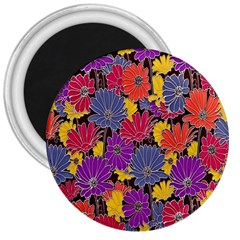 Colorful Floral Pattern Background 3  Magnets by Nexatart