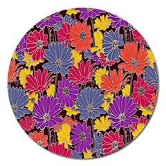 Colorful Floral Pattern Background Magnet 5  (round)
