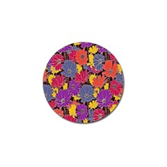 Colorful Floral Pattern Background Golf Ball Marker