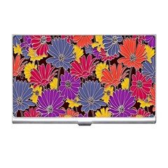 Colorful Floral Pattern Background Business Card Holders