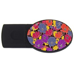 Colorful Floral Pattern Background Usb Flash Drive Oval (2 Gb) by Nexatart