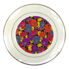 Colorful Floral Pattern Background Porcelain Plates by Nexatart