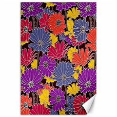 Colorful Floral Pattern Background Canvas 24  X 36