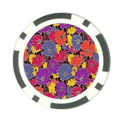 Colorful Floral Pattern Background Poker Chip Card Guard (10 Pack) by Nexatart