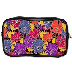 Colorful Floral Pattern Background Toiletries Bags 2 Side by Nexatart