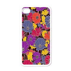 Colorful Floral Pattern Background Apple Iphone 4 Case (white) by Nexatart