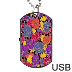 Colorful Floral Pattern Background Dog Tag Usb Flash (one Side) by Nexatart