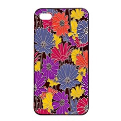 Colorful Floral Pattern Background Apple Iphone 4/4s Seamless Case (black)