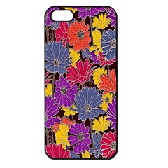 Colorful Floral Pattern Background Apple Iphone 5 Seamless Case (black)