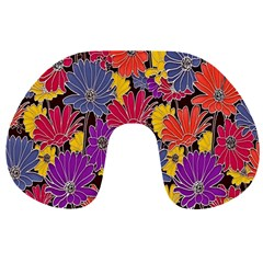 Colorful Floral Pattern Background Travel Neck Pillows by Nexatart