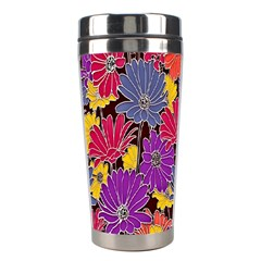 Colorful Floral Pattern Background Stainless Steel Travel Tumblers by Nexatart