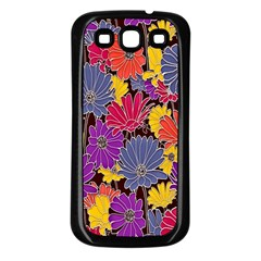 Colorful Floral Pattern Background Samsung Galaxy S3 Back Case (black) by Nexatart