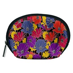 Colorful Floral Pattern Background Accessory Pouches (medium)
