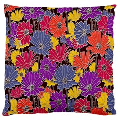 Colorful Floral Pattern Background Large Flano Cushion Case (one Side) by Nexatart