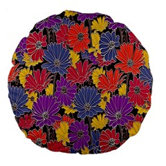 Colorful Floral Pattern Background Large 18  Premium Flano Round Cushions by Nexatart