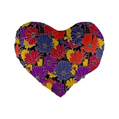 Colorful Floral Pattern Background Standard 16  Premium Flano Heart Shape Cushions by Nexatart