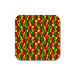 Colorful Wooden Background Pattern Rubber Square Coaster (4 Pack)  by Nexatart