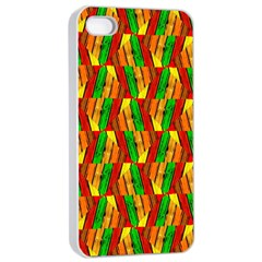 Colorful Wooden Background Pattern Apple Iphone 4/4s Seamless Case (white)